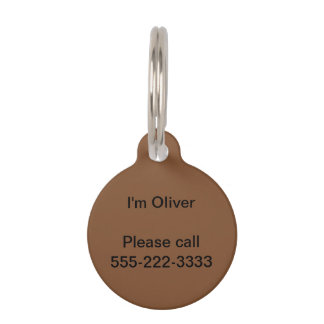 Simply Brown Solid Color Pet Tag