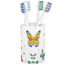 Simply Butterfly Soap Dispenser And Toothbrush Holder