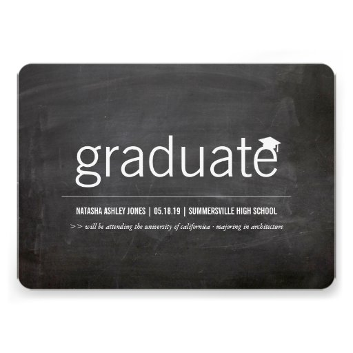 Simply Chalkboard Modern Graduate Graduation Photo Personalized Announcement