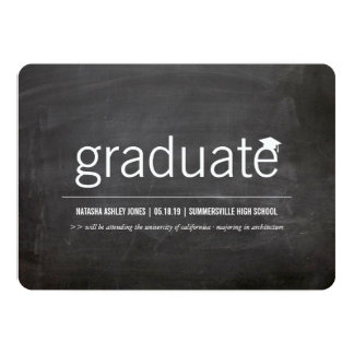 Simply Chalkboard Modern Graduate Graduation Photo Personalized Announcement
