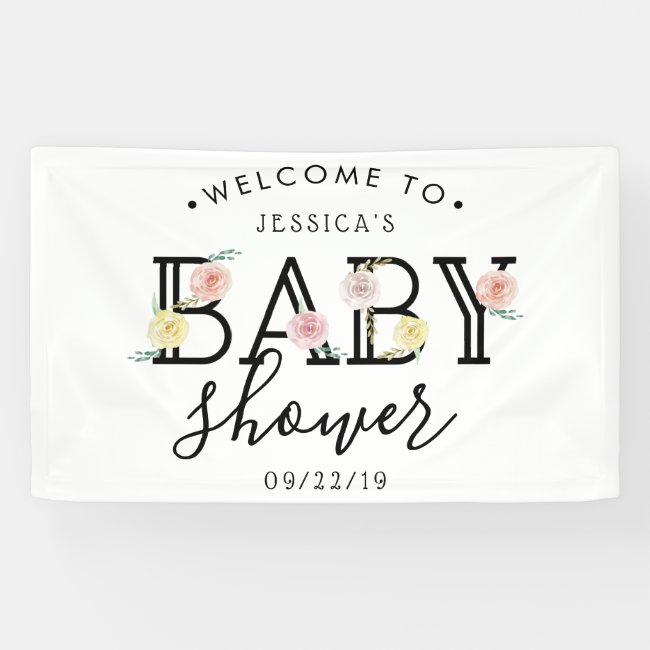Simply Chic Floral Garden Baby Shower Welcome Banner