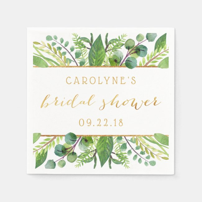 Simply Chic Greenery & Gold Bridal Shower Napkins