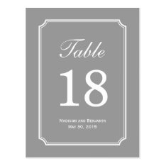 Simply Chic Wedding Table Number Card at Zazzle