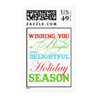 Simply Christmas greeting typography colorful Postage Stamp