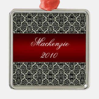 Simply Classic Holiday Damask Square Ornament