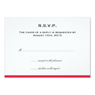 Simply color border red wedding rsvp response card