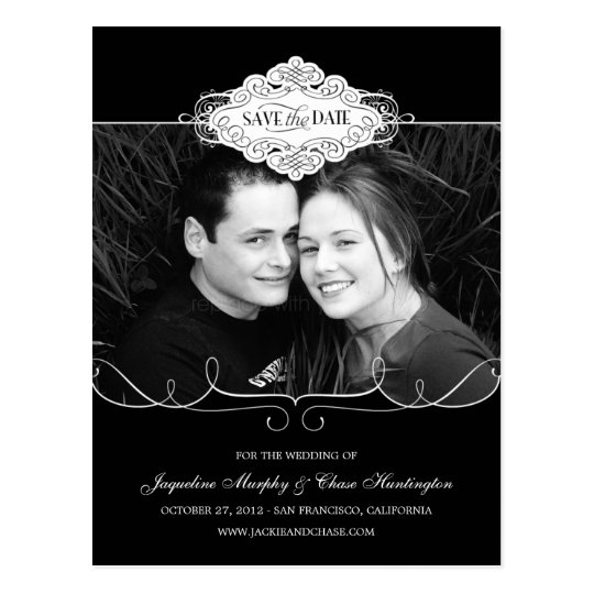 Simply Couture Save The Date Postcard - Black