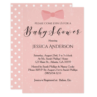 Simply Cute Pink Bow Baby Shower Card