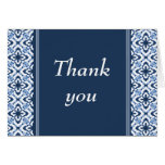 Simply Dazzling Damask Thank You Card, Dark Blue
