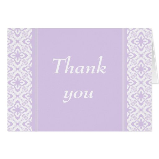 Simply Dazzling Damask Thank You Card, Lavender