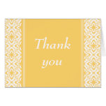 Simply Dazzling Damask Thank You Card, Yellow
