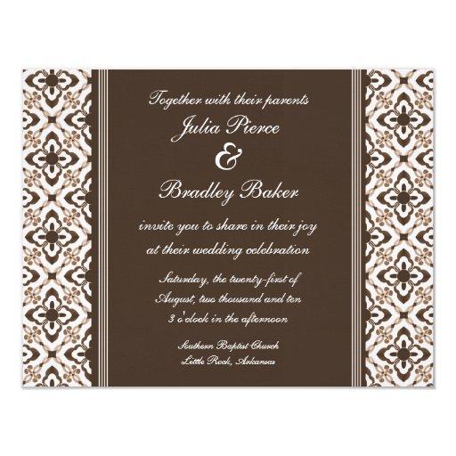 "Simply Dazzling Damask Wedding Invite, Dark Brown 4.25"" X 5.5"" Invitation Card"