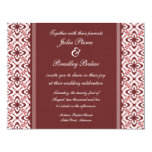 Simply Dazzling Damask Wedding Invite, Maroon