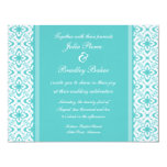 Simply Dazzling Damask Wedding Invite, Turquoise