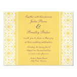 "Simply Dazzling Damask Wedding Invite, Yellow 4.25"" X 5.5"" Invitation Card"