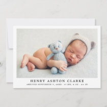 Simply Elegant | Baby Boy Photo Collage Birth Announcement