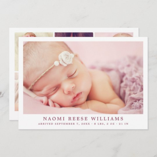 Simply Elegant Baby Girl Photo Collage Birth Announcement