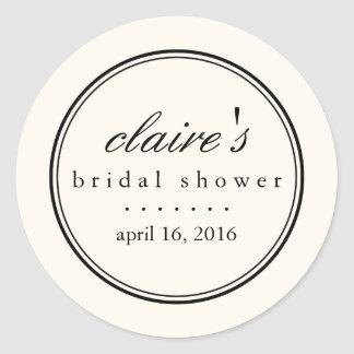 Simply Elegant Black and Cream Bridal Shower Classic Round Sticker
