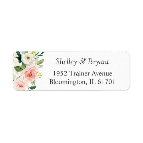 Simply Elegant Blush Pink Floral Return Address Label