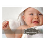 Simply Elegant (chocolate) Baby Birth Announcement Post Cards