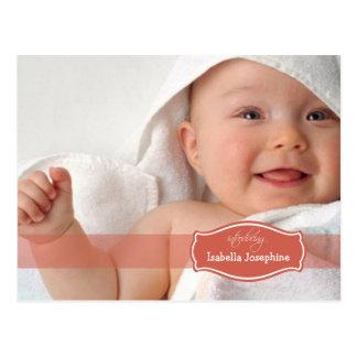 Simply Elegant (coral) Baby Birth Announcement Postcard