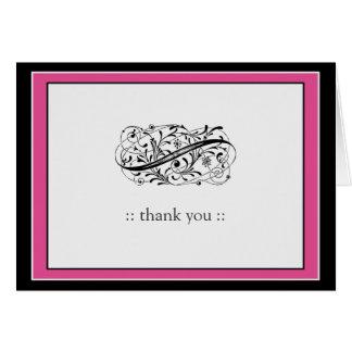 Simply Elegant Custom Thank You (fuschia/black) Stationery Note Card