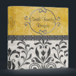 """Simply Elegant Damask Recipe Binder<br><div class=""""desc"""">An elegant way to preserve your precious family recipes. This binder is simply elegant with black,  white,  and yellow damask. Customize with your own text on front and spine. Back has an elegant yellow flower.</div>"""