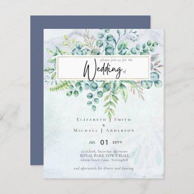 Simply Elegant Dusty Blue Eucalyptus BUDGET Invit