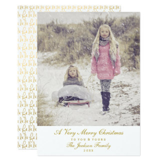 Simply Elegant Gold Script Merry Christmas Photo Card