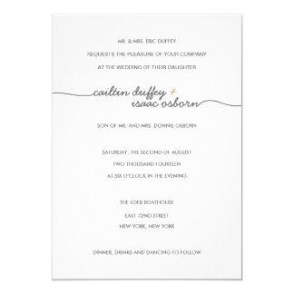 Simply Elegant Gold Wedding Invitation