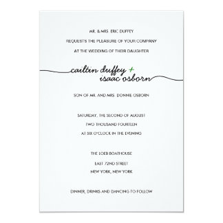 Simply Elegant Green Wedding Invitation