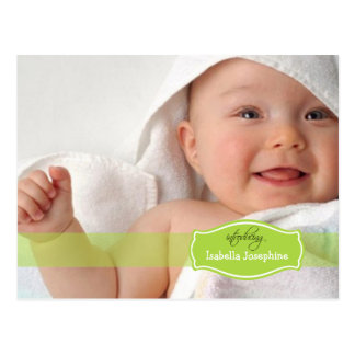 Simply Elegant (lime) Baby Birth Announcement Postcard