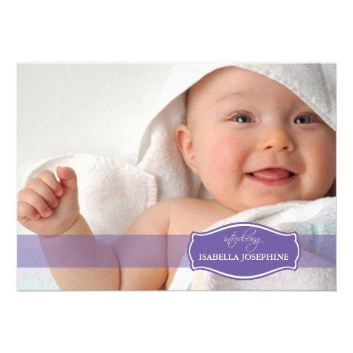 Simply Elegant (purple) Baby Birth Announcement