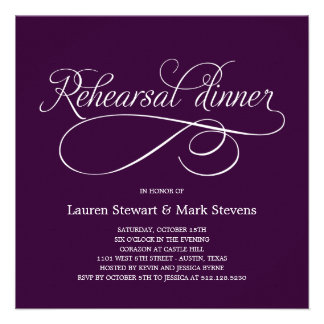 Simply Elegant Rehearsal Dinner Invitation Purple Custom Invite