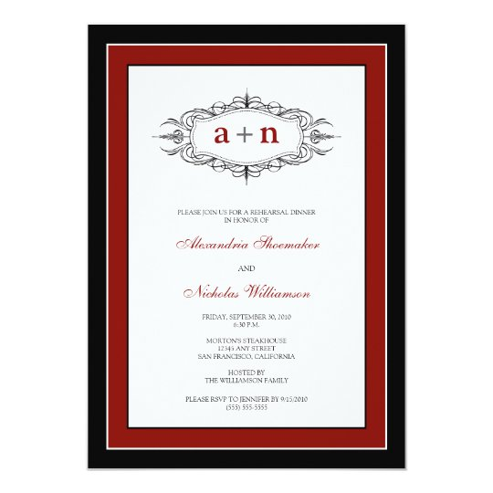 Simply Elegant Rehearsal Dinner Invitation (red)