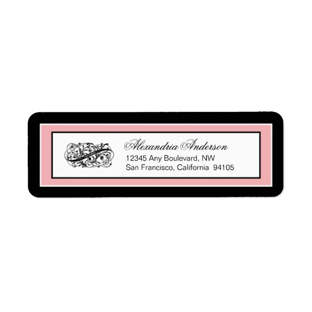 Simply Elegant Return Address Label (black/pink) | Zazzle