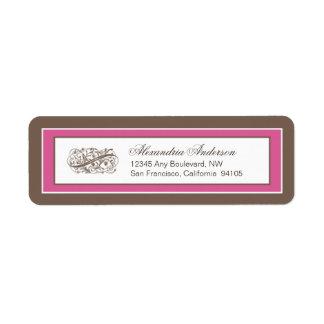 Simply Elegant Return Address Label: brown/fuchsia