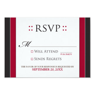 "Simply Elegant RSVP Card (red/black) 3.5"" X 5"" Invitation Card"