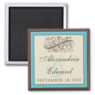 Simply Elegant Wedding Favor Magnet: aqua 2 Inch Square Magnet