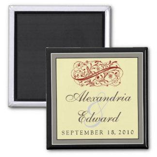 Simply Elegant Wedding Favor Magnet: black and red 2 Inch Square Magnet