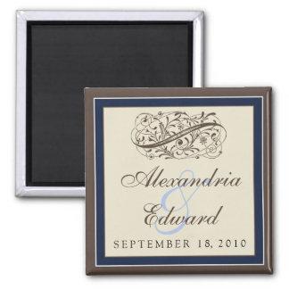 Simply Elegant Wedding Favor Magnet: navy blue Magnet