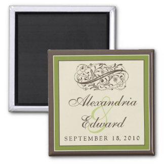 Simply Elegant Wedding Favor Magnet: olive green