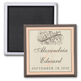 Simply Elegant Wedding Favor Magnet: peach 2 Inch Square Magnet