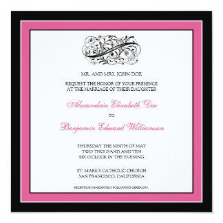 Simply Elegant Wedding Invitation (black/fuschia)