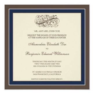 "Simply Elegant Wedding Invitation (navy blue) 5.25"" Square Invitation Card"