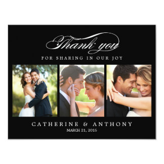 Simply Elegant Wedding Photo Thank You Card Black