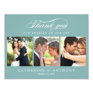 Simply Elegant Wedding Photo Thank You Card Blue