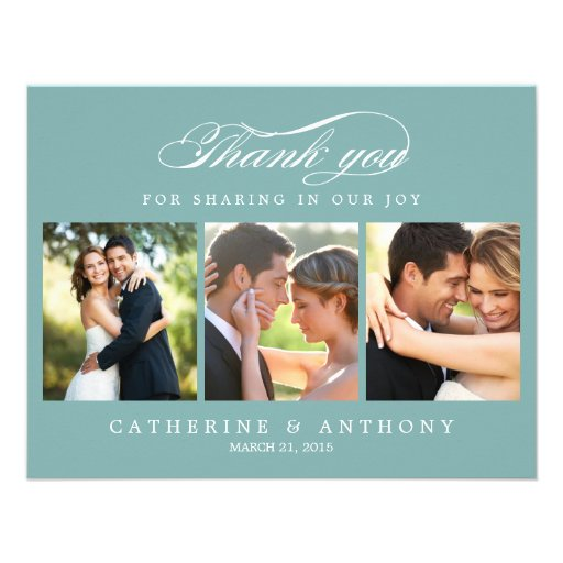 Simply Elegant Wedding Photo Thank You Card Blue Personalized Announcements
