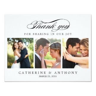Simply Elegant Wedding Photo Thank You Card White