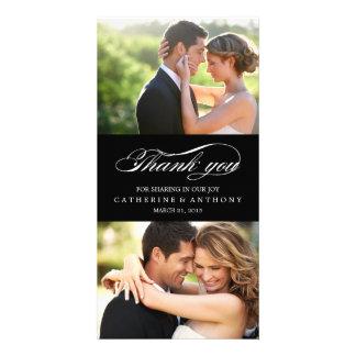 Simply Elegant Wedding Thank You - Black Photo Card